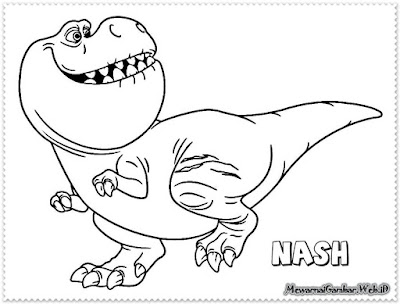 mewarnai gambar nash the good dinosaur