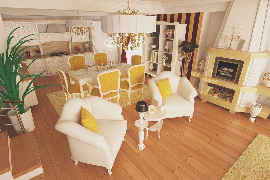 Amenajari interioare Bucuresti - Design interior living clasic casa cu 4 camere Bucuresti