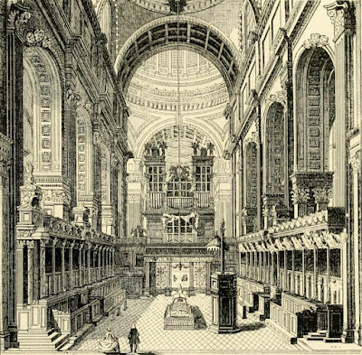 Interior of the choir of St Paul's (1754) from Old and New London by W Thornbury (1873)