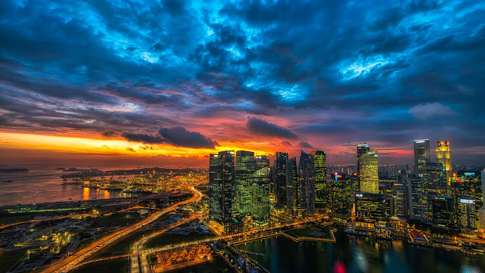 Wallpaper: Panoramic View with Architecture of Singapore