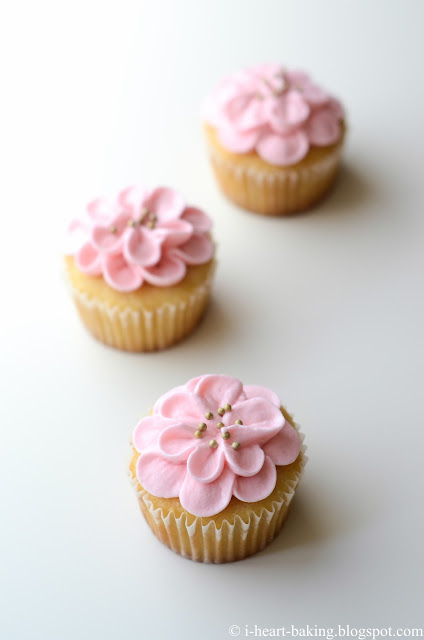 I Heart Baking Pink Flower Cupcakes For Babys First Birthday