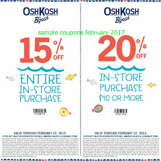 OshKosh B'gosh coupons for february 2017