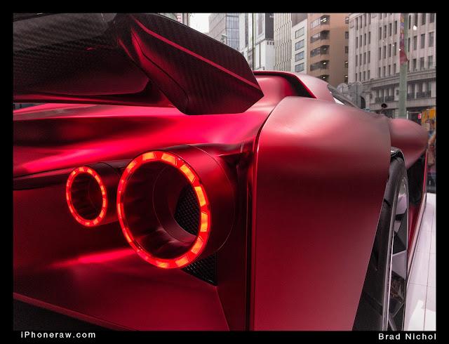 Red Nissan Hyper sports prototype on Nissan corner, Ginza, Japan.