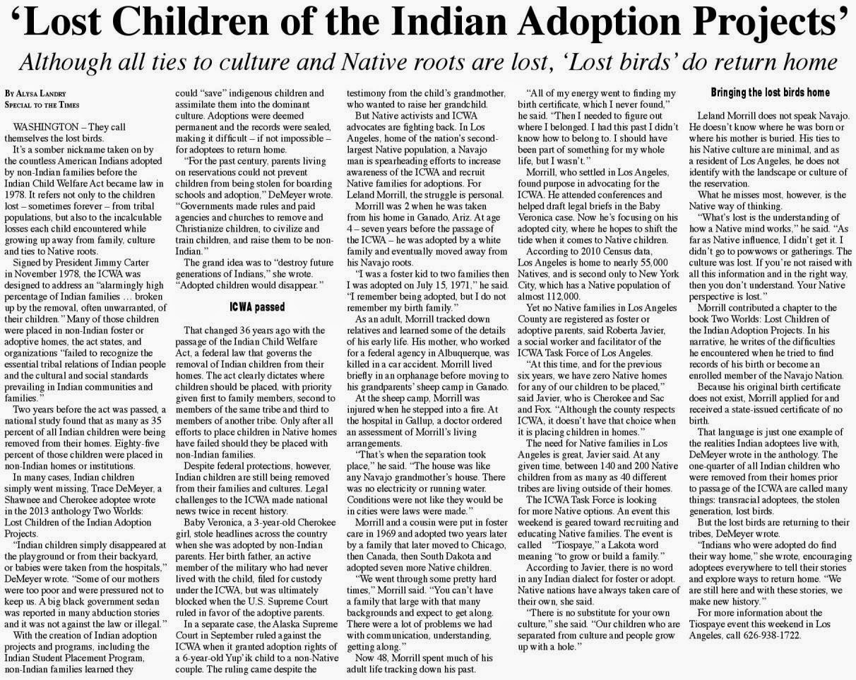 Navajo Times article 2014