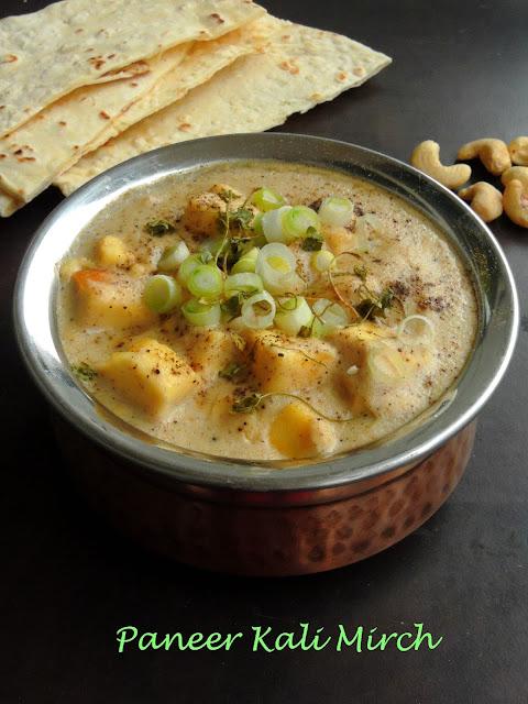 Paneer in Black Pepper gravy, Punjabi Paneer Subzi