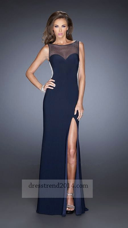 41100590af8 Navy Beaded Sheer Slit High Neck Long Prom Dress Colors Navy Fabric Jersey  Elegant fitted jersey gown with a sheer net tank style bodice and side slit.