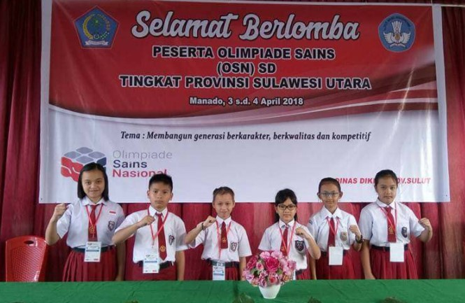 Peserta OSN SD Tingkat Provinsi adalah para sang juara OSN SD ditingkat kabupaten masing Wakil Kabupaten Tomohon Pada OSN SD Provinsi Sulawesi Utara 2018