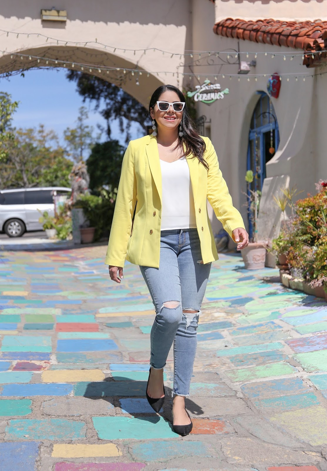 yellow blazer and jeans outfit, san diego fashion blogger inside spanish village