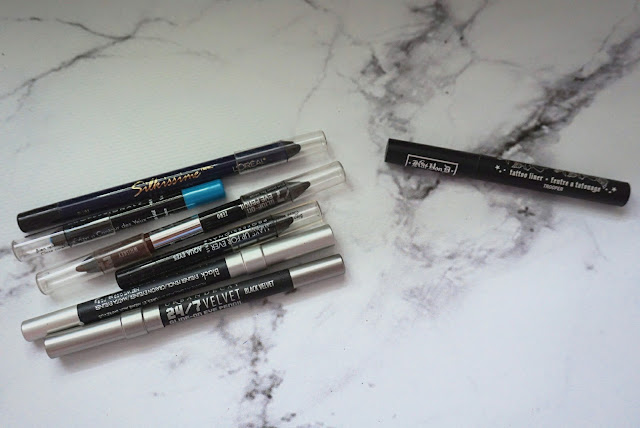 Various Pencil Liners from L'oreal, Urban Decay and the old MUFE liners pre Aqua XL release  Kat Von D - Tattoo Liner