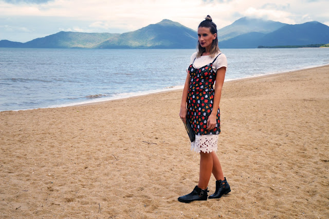 Australia slip dress outfit idea on beach slip dress over shirt 90s style with black ankle boots