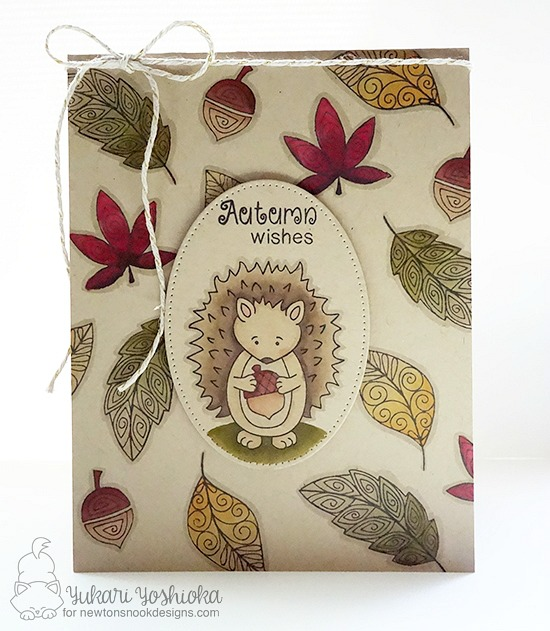 Autumn Wishes Card by Yukari Yoshioka | Hedgehog Hollow and Beautiful Leaves stamp sets by Newton's Nook Designs #newtonsnook