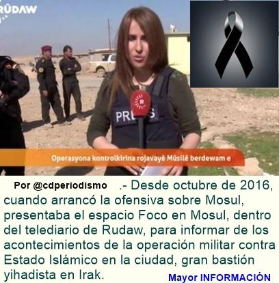 Reportera muere mientras cubría enfrentamiento del Estado Islámico