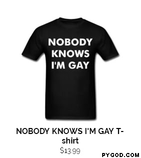 Nobody Knows I'm Gay t-shirt.  PYGOD.COM
