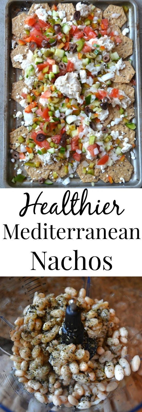 Healthier Mediterranean Nachos- loaded with homemade hummus, kalamata olives, tomatoes, cucumber and more! www.nutritionistreviews.com