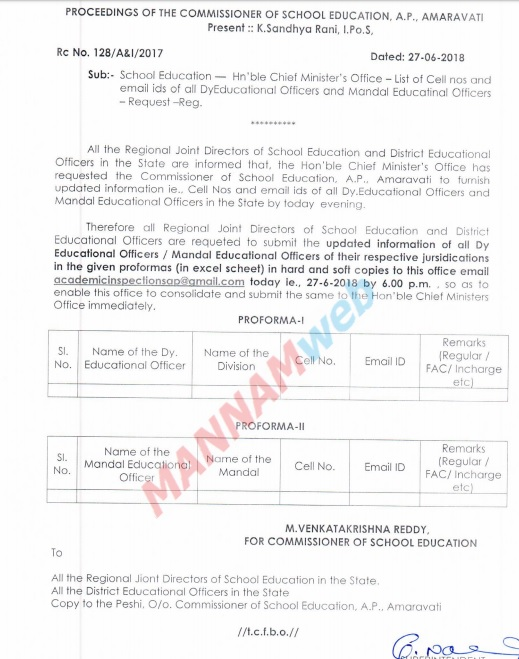 School Education-Hon'ble Chief Minister's Office – List of Cell nos and email ids of all DyEducational Officers and Mandal Educatinal Officers – Request –Reg,Rc.128