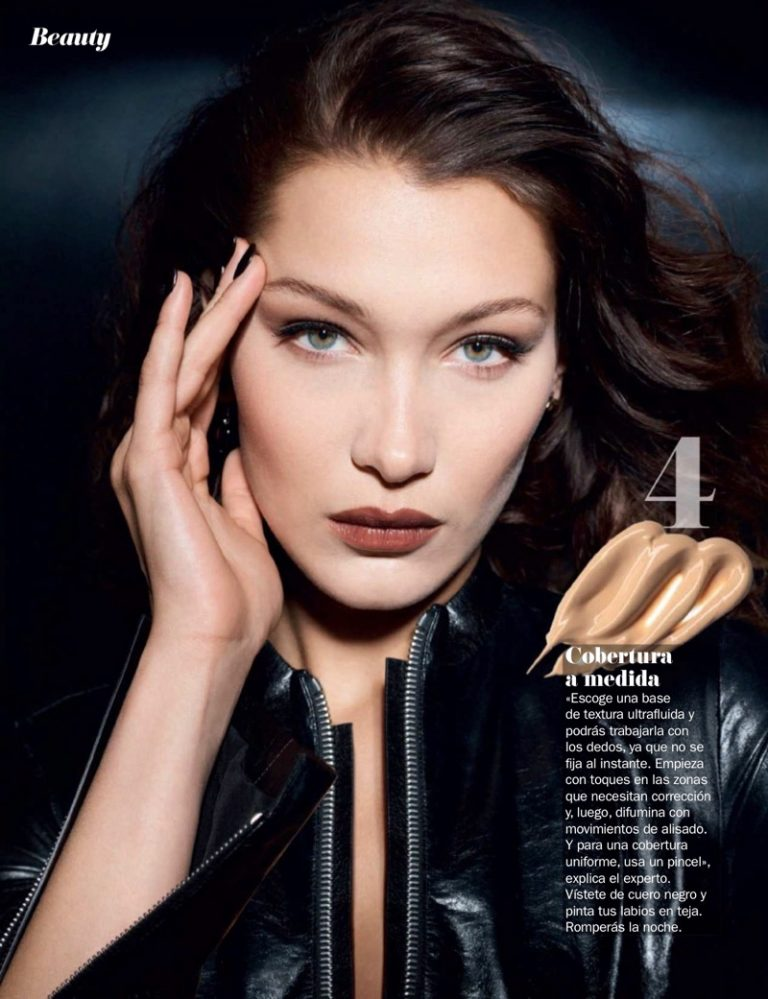 Bella Hadid models trendy makeup looks for Cosmopolitan Spain