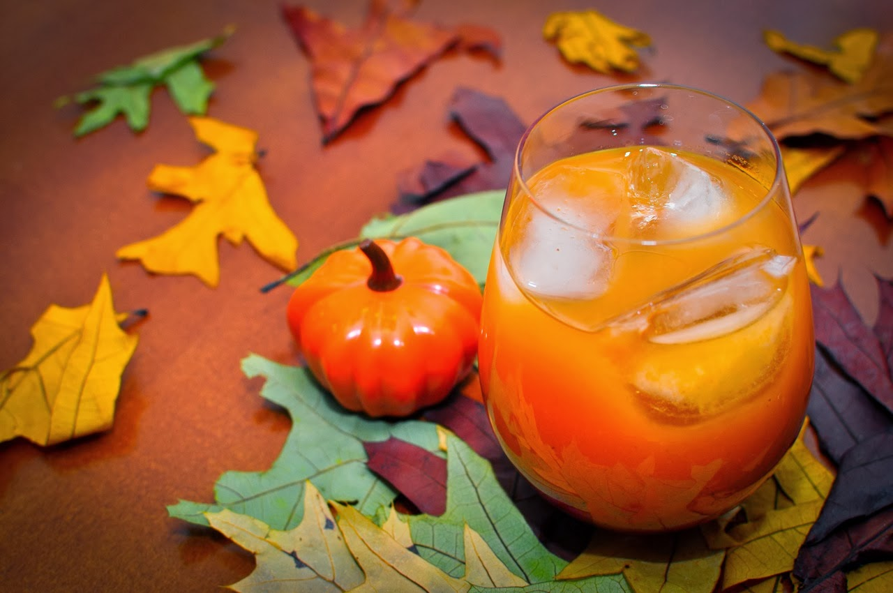 Tasty pumpkin juice in glass