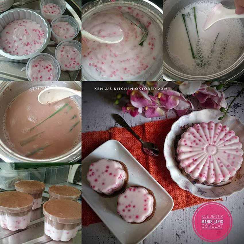 sendok makan sagu mutiara merah direbus hingga matang Makin Enak di Sajikan Dingin. Ini Step by Step Membuat Kue Jentik/Kue Manis Lapis Cokelat