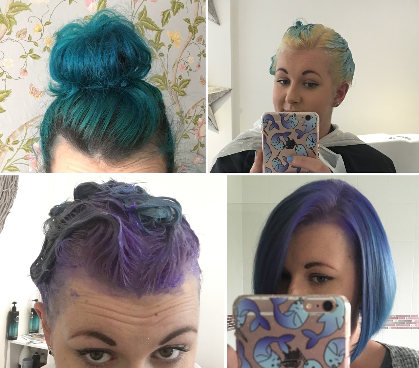 turquoise to purple hair