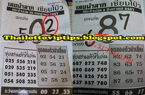 Thai lotto Hot Exclusive Paper 01-08-2014