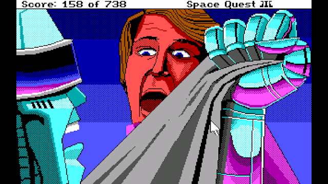 Screenshot of Arnoid and Roger Wilco in Space Quest III