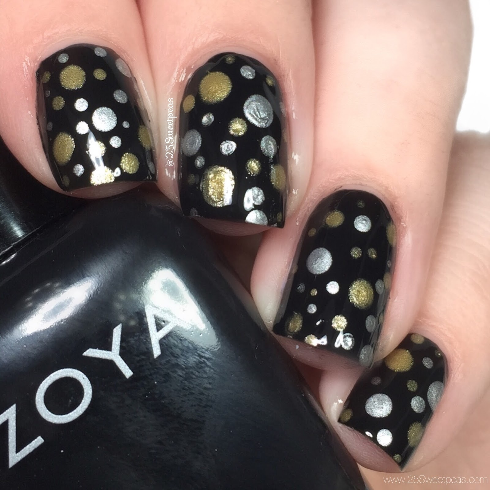 3 nye nail art looks using only dotting tools 25 sweetpeas nye nail art prinsesfo Images
