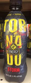 Bottle of Tornado Storm Energy Drink, sitting on a Big Lots shelf