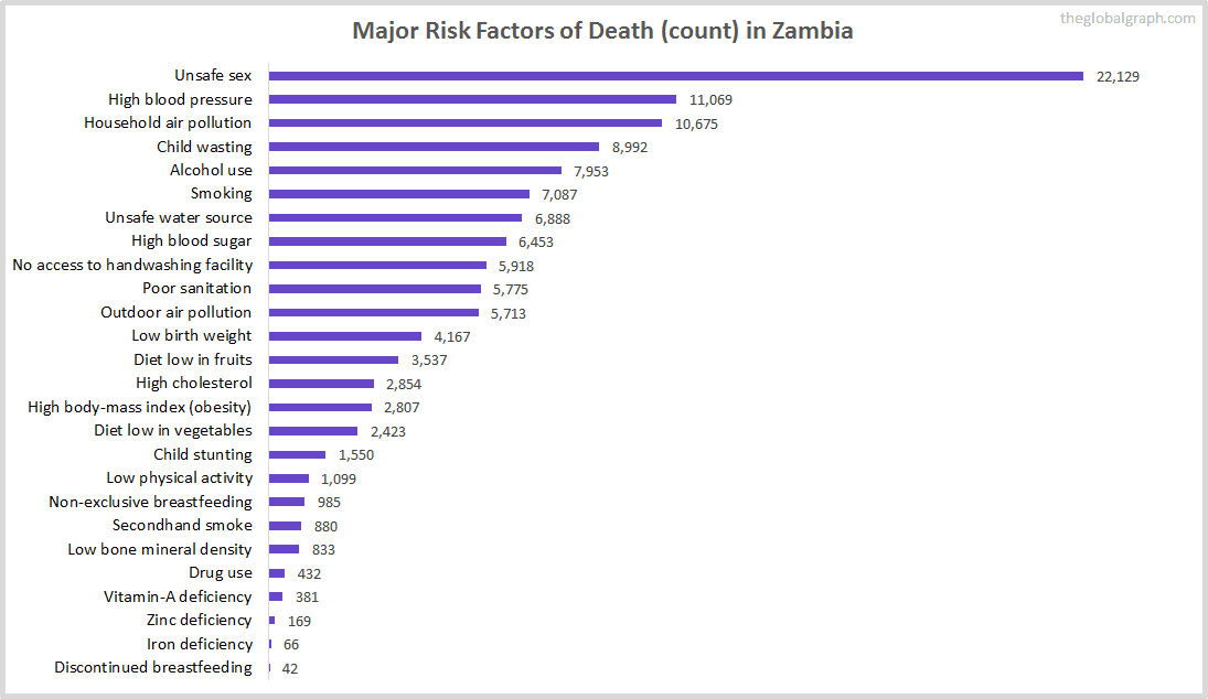 Major Cause of Deaths in Zambia (and it's count)