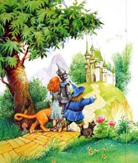 Dorothy, Espantapajaros, Hojalata y León van por el camino de felicidad