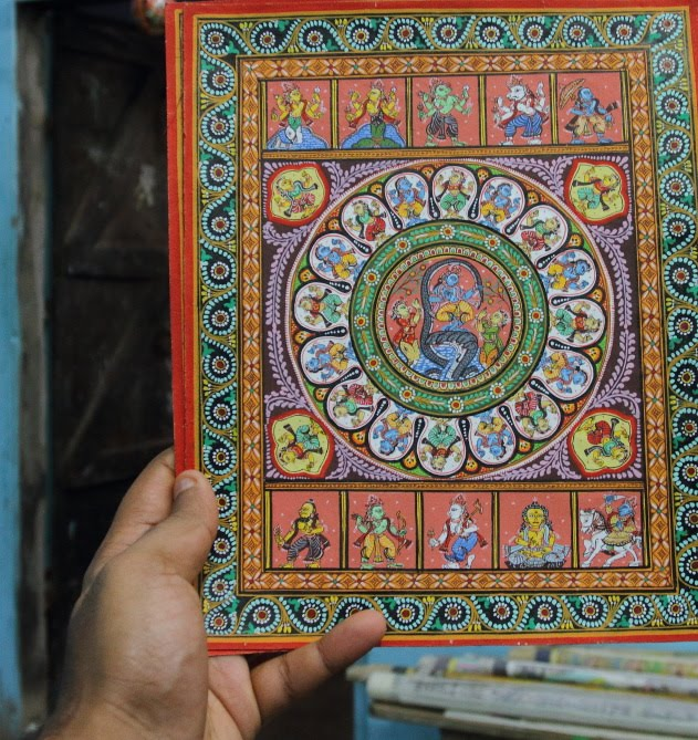 The original side view Patta Chitra of Raghurajpur that depict the avatars of  Lord Vishnu