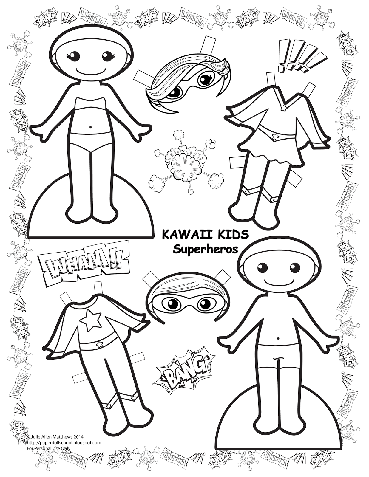 Superhero Paper Doll Template Sketch Coloring Page