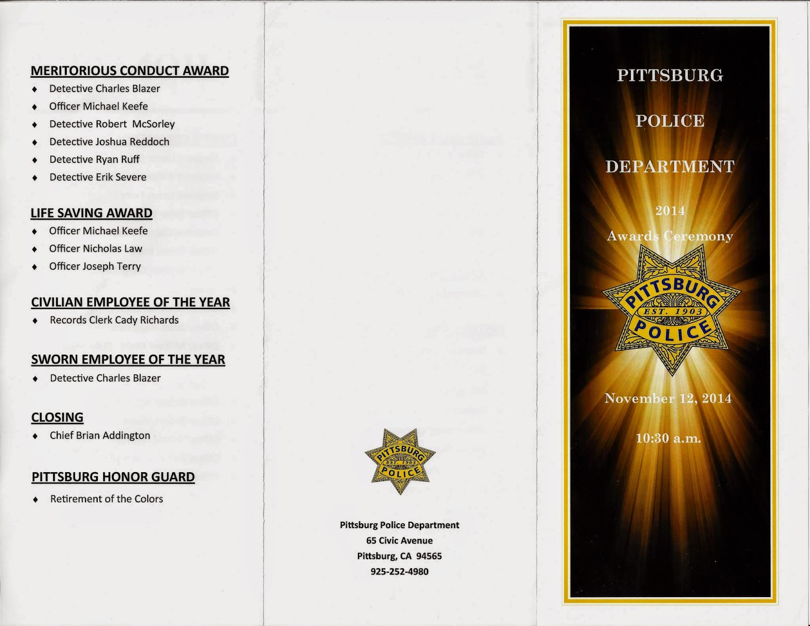printed event program pittsburg police 2014 swearing in awards