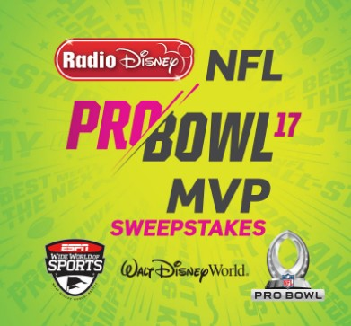 One lucky winner will kick off the new year with one touchdown of a prize in the NFL Pro Bowl MVP Disney Sweepstakes!