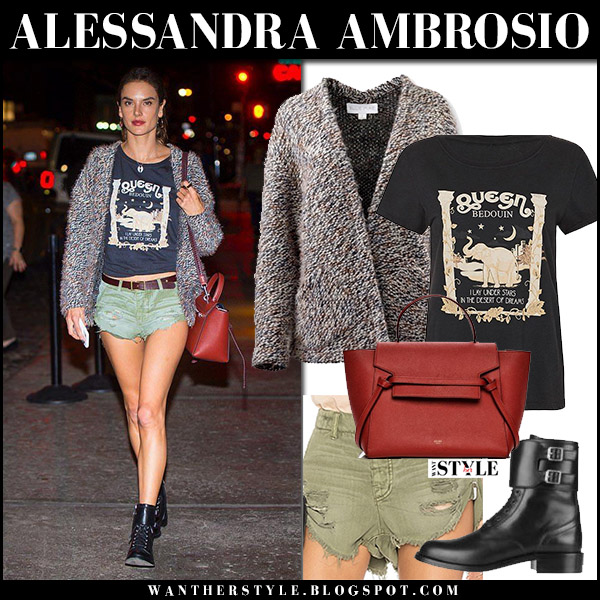 Alessandra Ambrosio in knit cardigan, khaki shorts one teaspoon and black ankle boots saint laurent model style october 10 2017