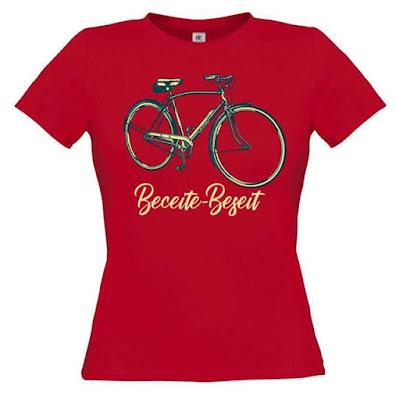 beceite , beseit, camiseta, manga corta,roja, bicicleta, festa casats, mujer