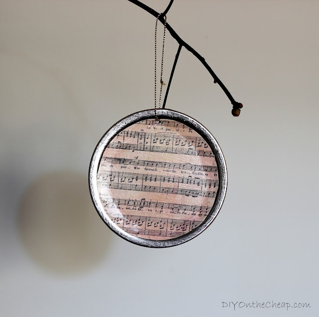 DIY Mason Jar Lid {Sheet Music} Ornament