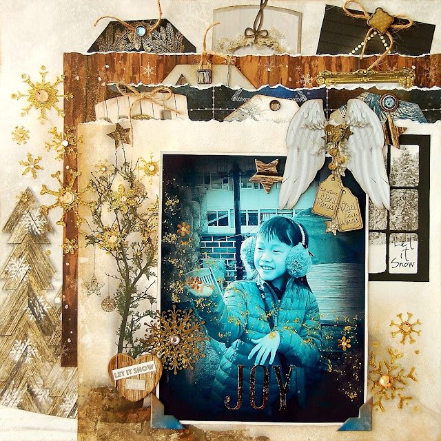 Joy Layout by Irene Tan using BoBunny Sleigh Ride collection