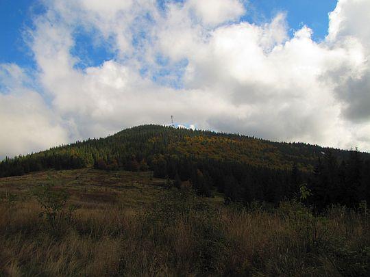 Okrąglica (1239 m n.p.m.) z Przełęczy Kucałowej.