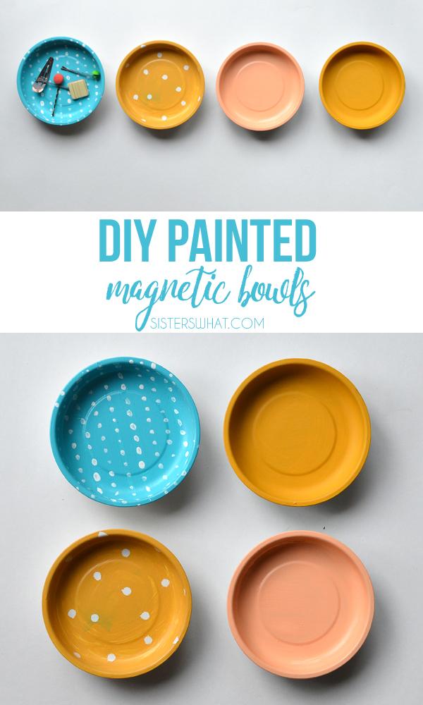DIY painted magnetic bowls for hair pins or random things
