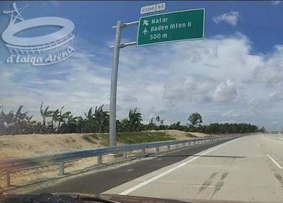 rambu petunjuk keluar tol via Natar (km 95)