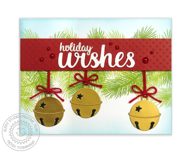 Sunny Studio Stamps: Silver Bells Holiday Christmas Card by Mendi Yoshikawa