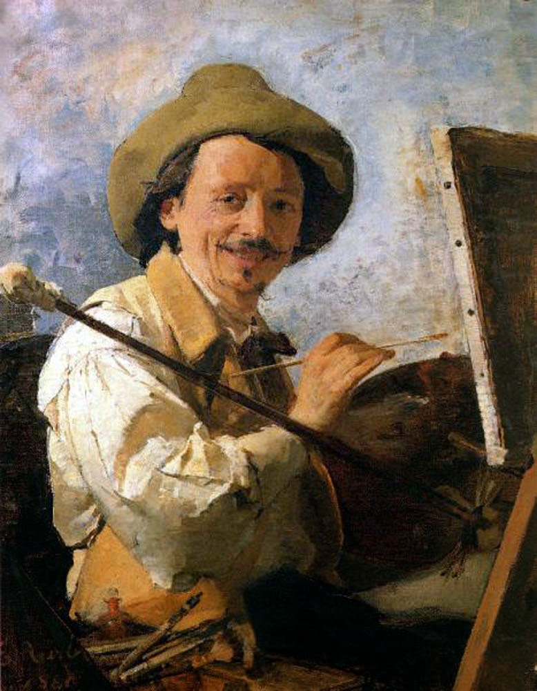 Ezechiele Acerbi, Self Portrait, Portraits of Painters, Fine arts, portraits of painters blog, Paintings of Ezechiele Acerbi, Painter Ezechiele Acerbi