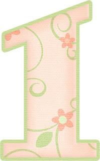 Alfabeto con Flores en Rosa Pálido y Orilla Verde.