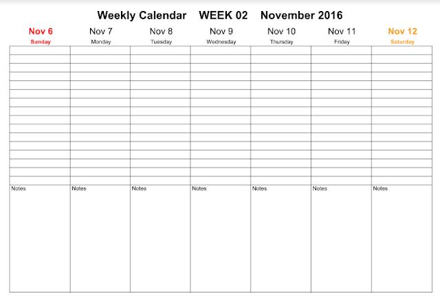 Get Printable Calendar : November 2016 Weekly Calendar | Printable ...