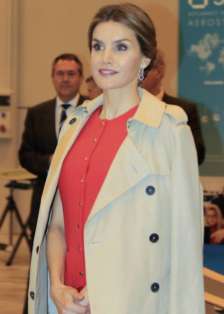 King Felipe of Spain and Queen Letizia of Spain attended the opening of the 1st incubator of the transfer aerospace