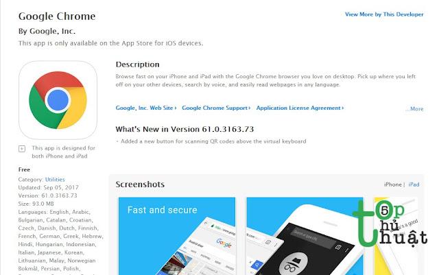 Trình duyệt web Google Chrome for iOS