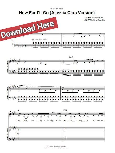 alessia cara, how far i'll go, sheet music, piano notes, chords, download, pdf, klavier noten, tutorial, lesson, voice, vocals