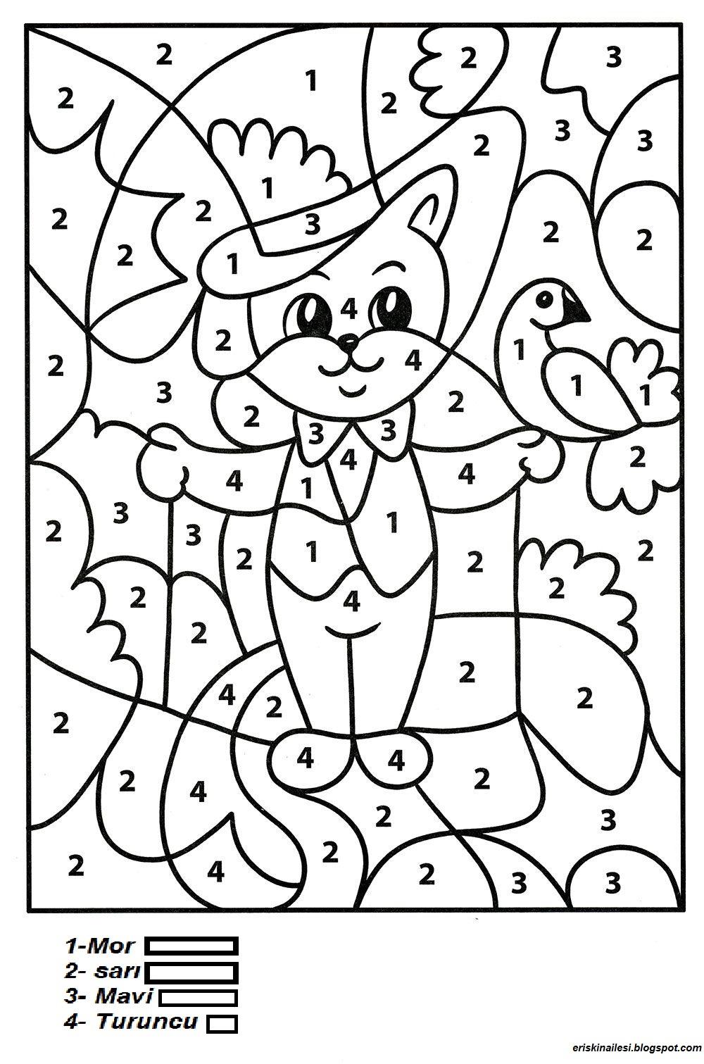 Okul öncesi 5 Rakam Boyama Yazdırılabilir Boyama Sayfaları