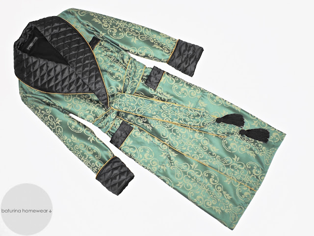 Men's green paisley dressing gown quilted silk smoking jacket vintage housecoat full length warm lined