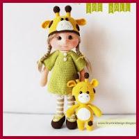 Muñeca jirafa amigurumi